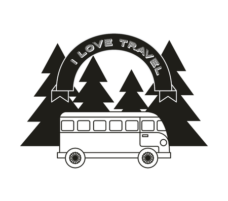 wanderlust design with bus and trees icon. black and white design. vector illustration Illustration