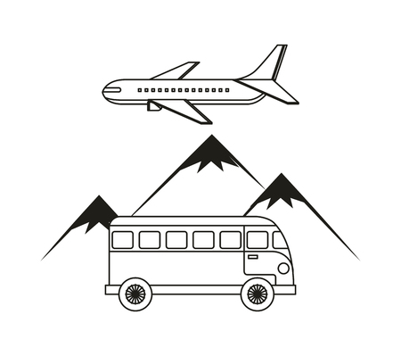 wanderlust: bus, airplane and mountains over white background. wanderlust Illustration