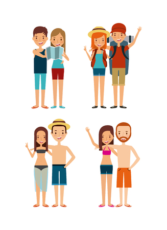happy young couples cartoon icon over white background. trip and vacations concept. colorful design. vector illustration