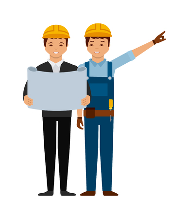 engineer and construction worker cartoon icon over white background. colorful design. vector illustration Ilustração