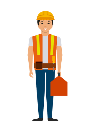 overhead: construction worker with a toolbox cartoon icon over white background. colorful design. vector illustration