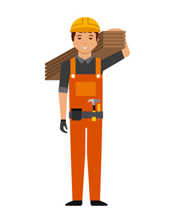 overhead: construction worker cartoon icon over white background. colorful design. vector illustration