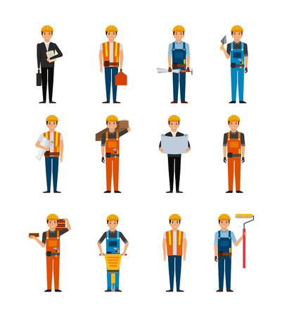 overhead: construction workers cartoon icon set over white background. colorful design. vector illustration