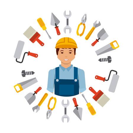彼の周りの白い背景の上の修復ツールと建設労働者漫画。カラフルなデザイン。ベクトル図
