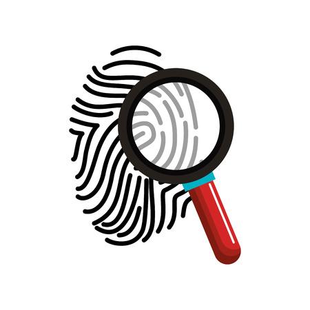 finger print with magnifying glass vector illustration design Illustration