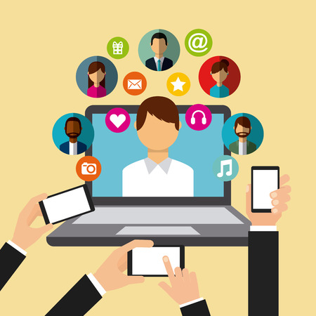 hands with smartphones and laptop computer with man and social media icons around over yellow background. colorful desing. vector illustration