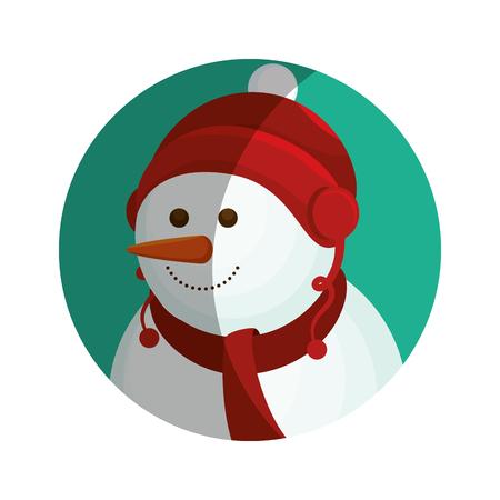 happy merry christmas snowman card vector illustration design
