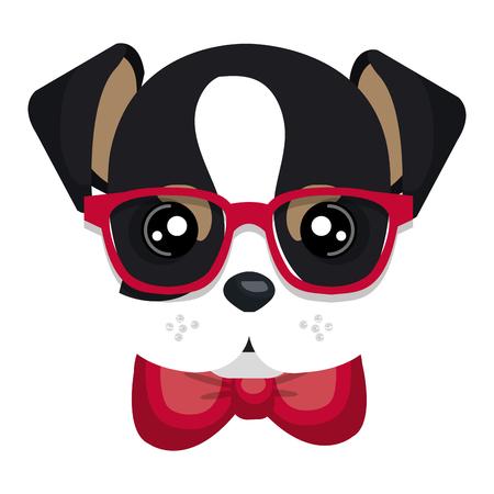 cute dog hipster style vector illustration design