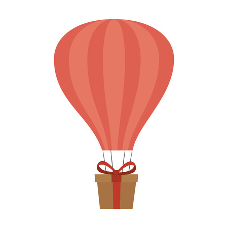 balloon air hot with carton box isolated icon vector illustration design