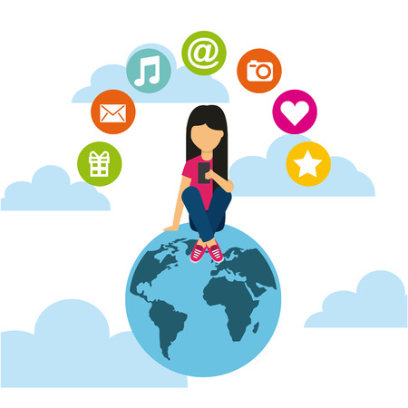 earth planet with woman using a smartphone and social media icons around over sky background. colorful desing. vector illustration
