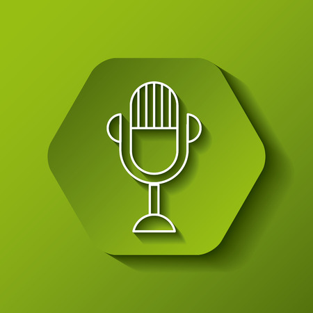 hexagon button with microphone icon over green background. colorful design. vector illustration