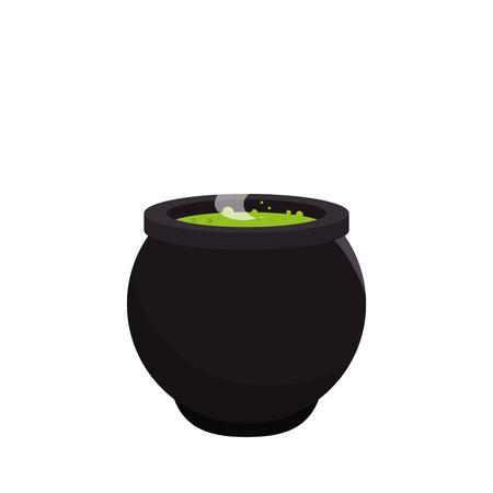 Witch cauldron celebration card vector illustration design Illustration