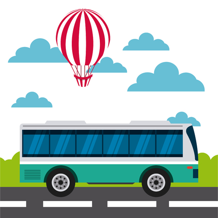 visiting card: air balloon and bus over sky background. colorful design. travel and tourism concept. vector illustration
