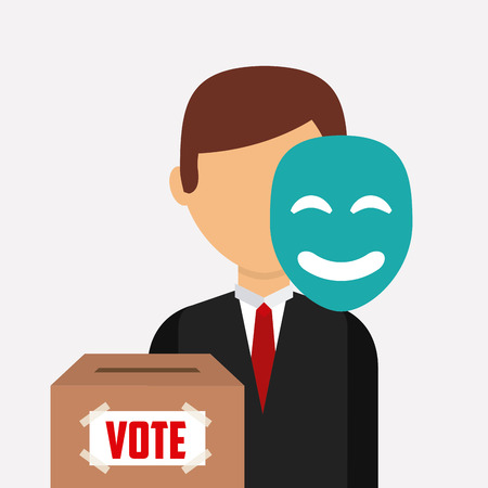 conscientious: election candidate with mask and box of vote over white background. colorful design. vector illustration