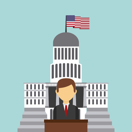 federation: businessman cartoon over white house of usa. colorful design. vector illustration