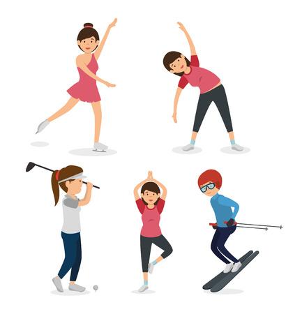 grupo de atletas avatares caracteres ilustración vectorial de diseño