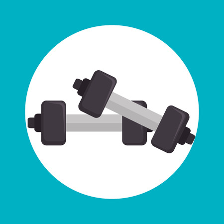 dumbell: weight lifting equipment icon vector illustration design