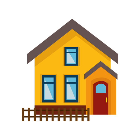cute house exterior isolated icon vector illustration design
