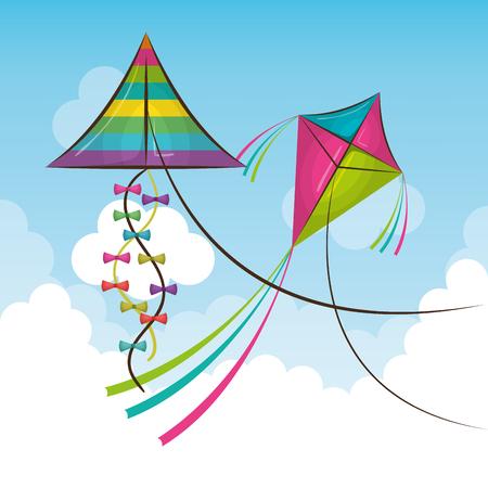 kite flying in the sky vector illustration design