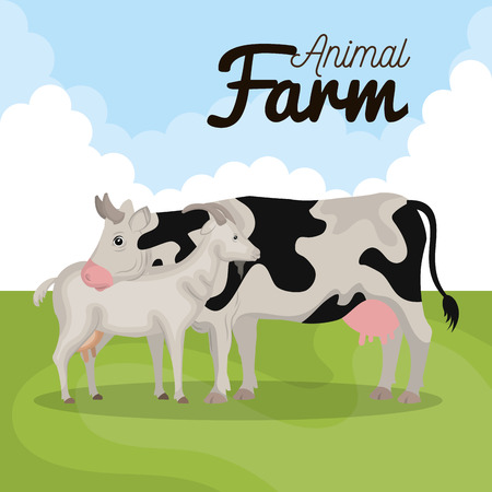 animals farm in the field vector illustration design