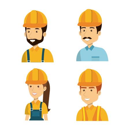 builders group avatars characters vector illustration design Illustration