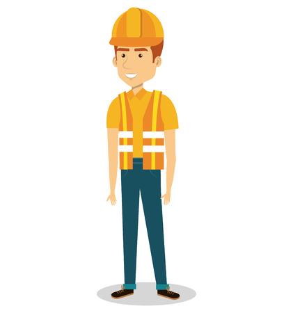 male builder avatar character vector illustration design