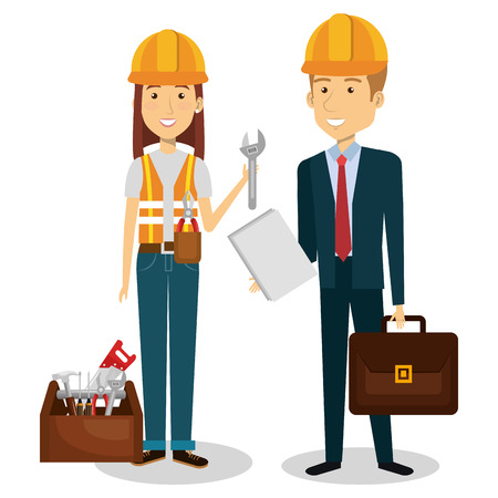builders group avatars characters vector illustration design Illustration
