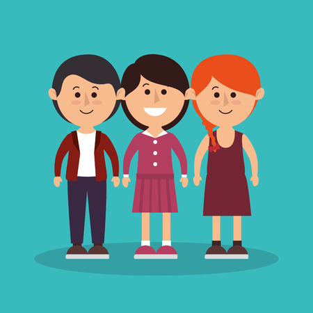 group of young adults: cute family members group vector illustration design Illustration