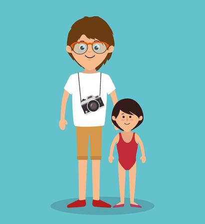 members: cute family members group vector illustration design Illustration