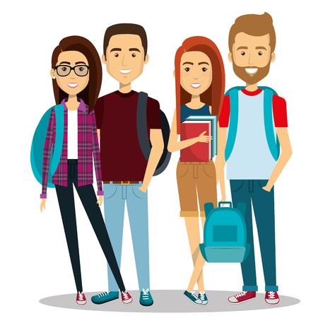 jongeren groep avatars karakters vectorillustratieontwerp