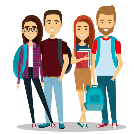 young people group avatars characters vector illustration design