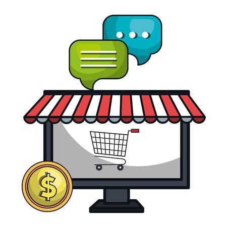 e shop: digital marketing e-commerce icon vector illustration design