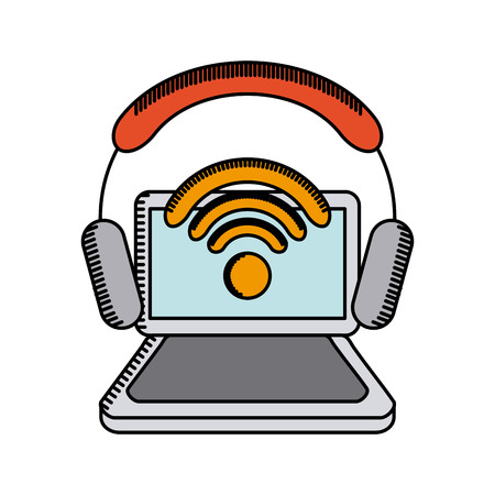 computer with wireless waves and headphones over white background. colorful design. vector illustration