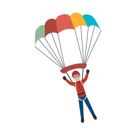 parachute Extreme sport athlete avatar vector illustration design