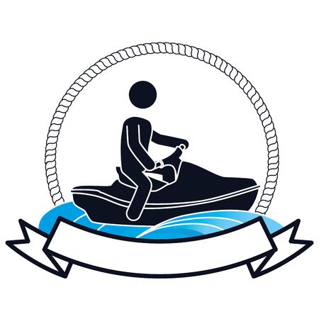 jet ski Extreme sport athlete avatar vector illustration design