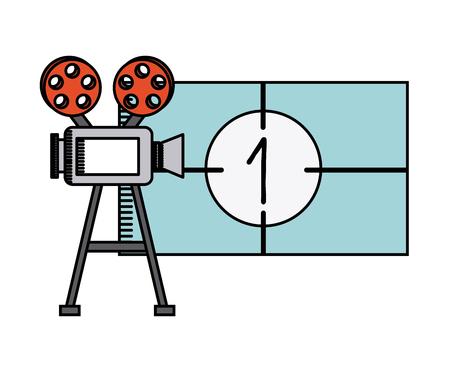 retro cinema camera icon over white background. colorful design. vector illustration