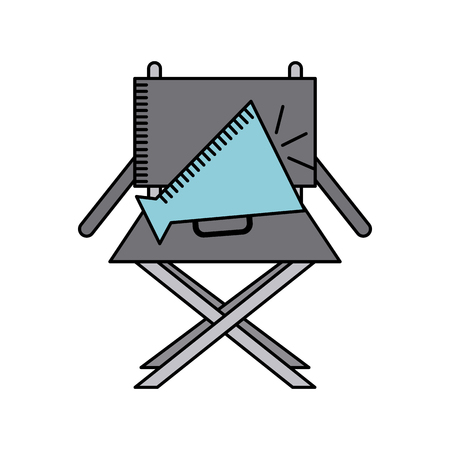 director chair: director chair and speaker icon over white background. cinema and movie concept. colorful design. vector illustration