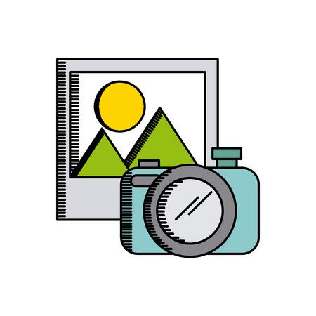 digicam: camera device and photo icon over white background. colorful design. vector illustration Illustration