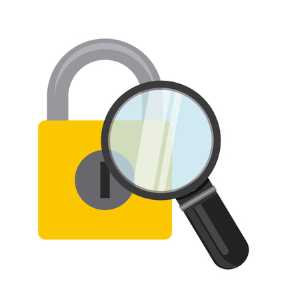 magnifying glass with padlock icon over white background. colorful design. vector illustration