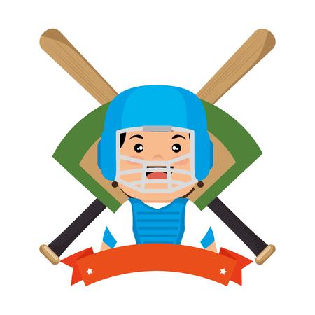 baseball player emblem sport vector illustration design Illustration