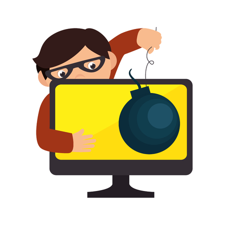 security monitor: monitor desktop computer with security system vector illustration design Illustration