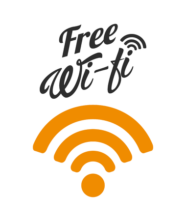 wireless waves over white background. colorful design. free wifi concept. vector illustration Illustration