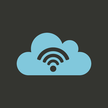 blue cloud with wireless waves icon over black background. colorful design. vector illustration