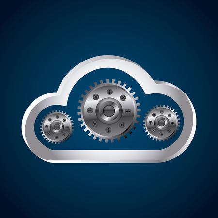 cloud storage with gears over blue background. colorful desing. vector illustration