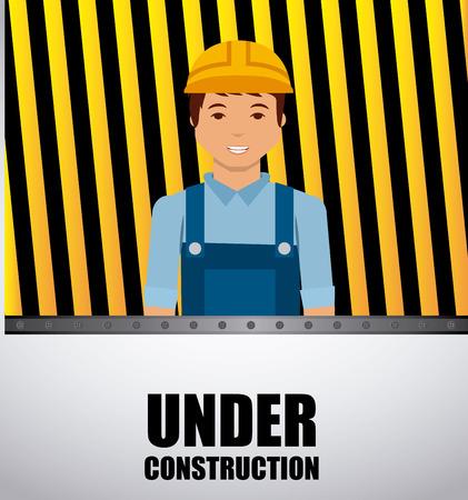 construction worker cartoon. under construction concept. colorful design. vector illustration