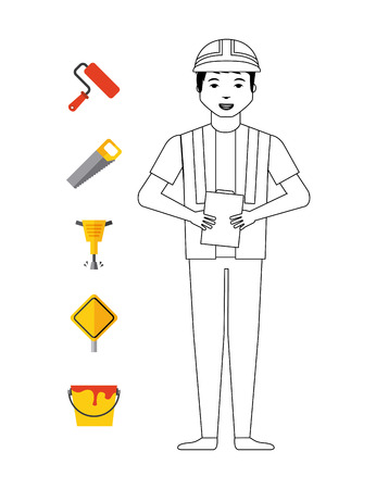 construction worker with tools around over white background.under construction concept. colorful design. vector illustration