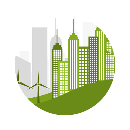 green city ecology buildings vector illustration design Illustration