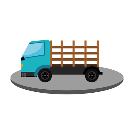 hauling: Stakes truck isolated icon vector illustration design Illustration
