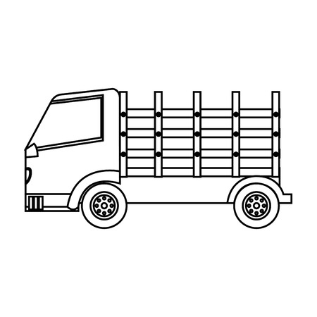 camion: Stakes truck isolated icon vector illustration design Illustration