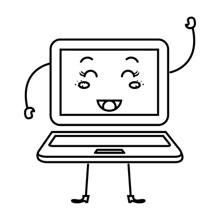 laptop computer character icon vector illustration design Illustration
